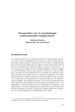 Perspective sur la psychologie interculturelle comparative