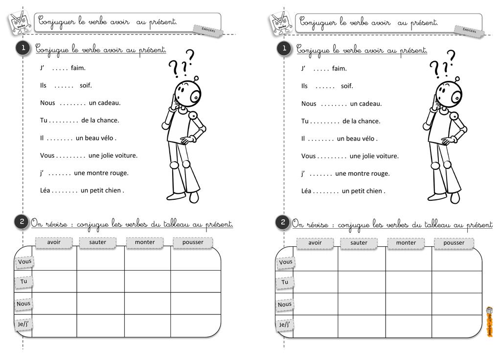 Exercices Conjugaison Du Verbe Avoir Au Present