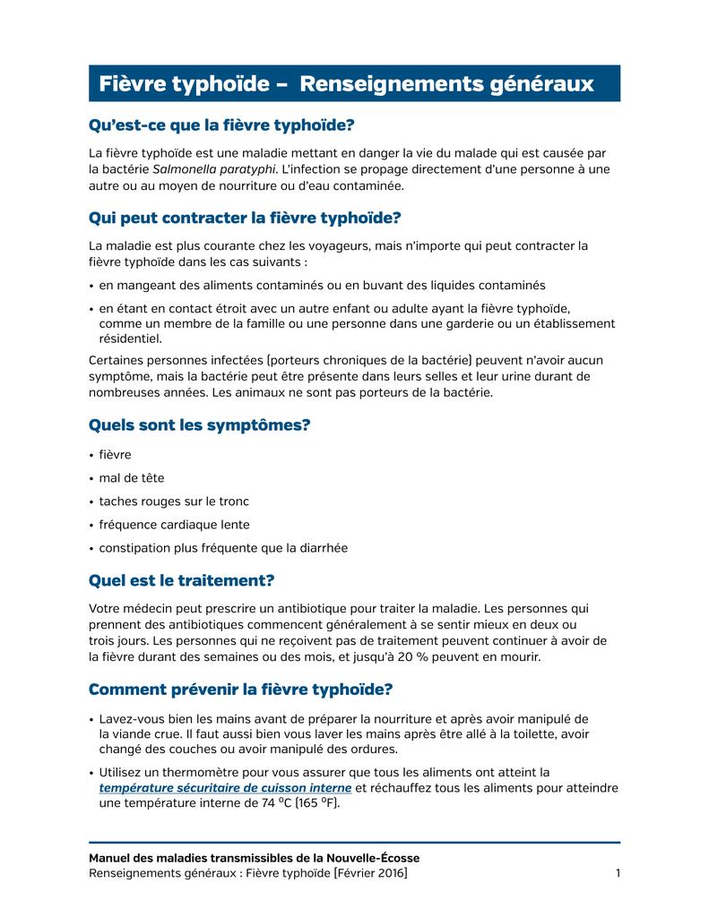 Fièvre typhoïde – Renseignements généraux