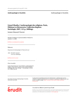 Lionel Obadia, L`anthropologie des religions. Paris, Éditions