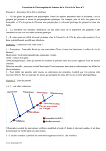 Correction de l`interrogation de Sciences de la Vie et