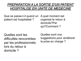 PREPARATION A LA SORTIE D`UN PATIENT HOSPITALISE EN