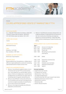 COURS APPROFONDI VENTE ET MARkETING FTTH