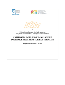 ANTHROPOLOGIE, PSYCHANALYSE ET POLITIQUE : REGARDS