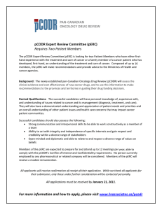 pCODR Call for Patient Members