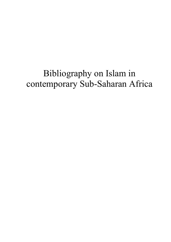 Bibliography on Islam in contemporary Sub-Saharan Africa