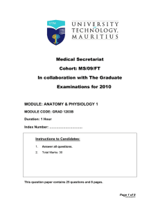 MS/09/FT In collaboration with The Graduate Examinations for 2010