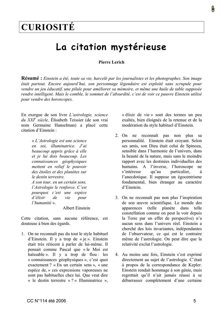 Curiosité La Citation Mystérieuse