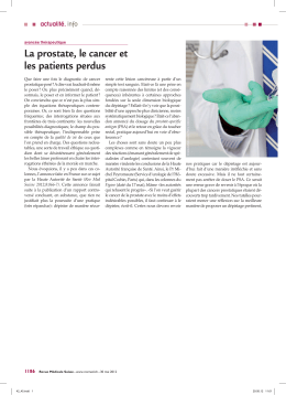 La prostate, le cancer et les patients perdus