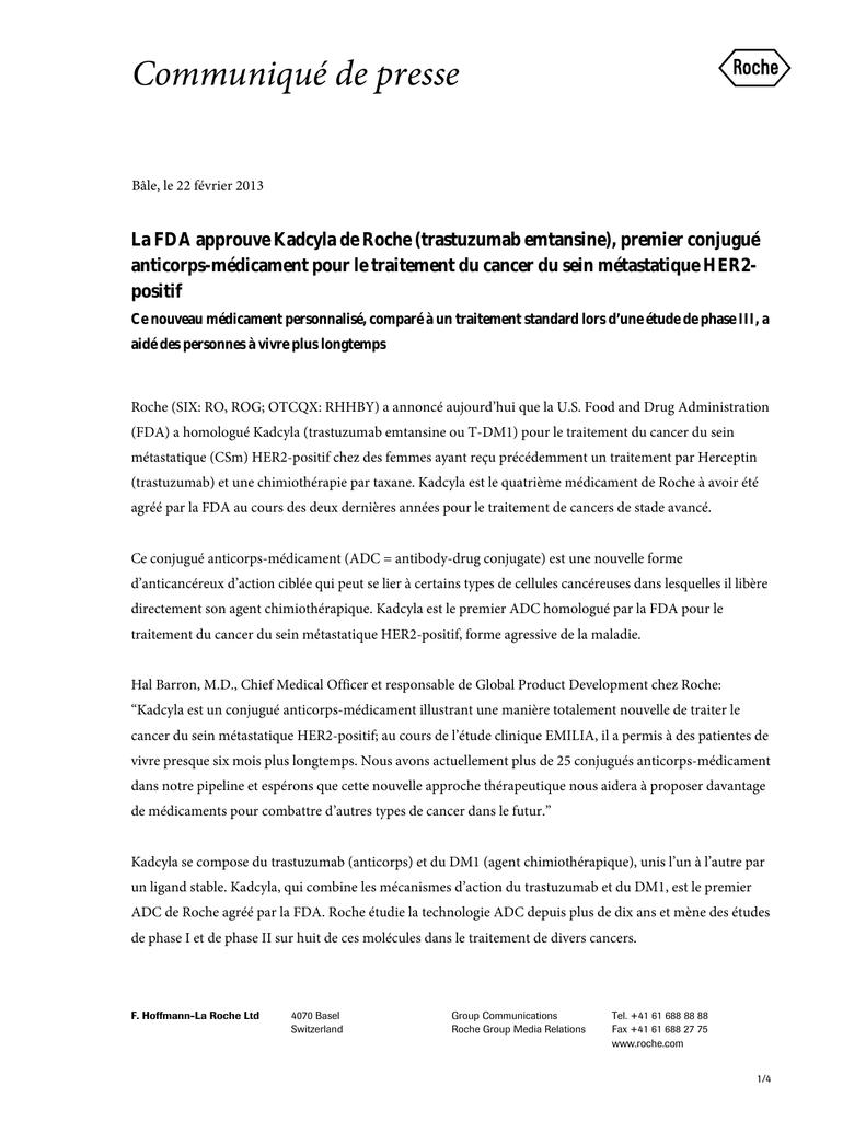 Premier Conjugue Anticorps Medicament Pour Le Traitement