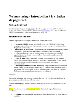 Webmastering - Introduction à la création de pages web