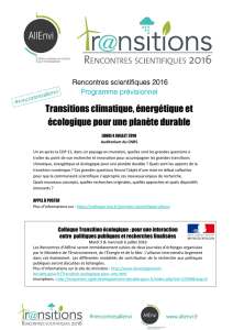 Transitions climatique écologique Transitions climatique