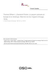 Thomas William I., Znaniecki Florian, Le paysan