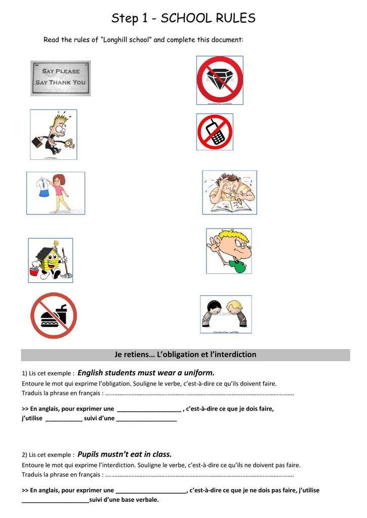 Step 1 School Rules