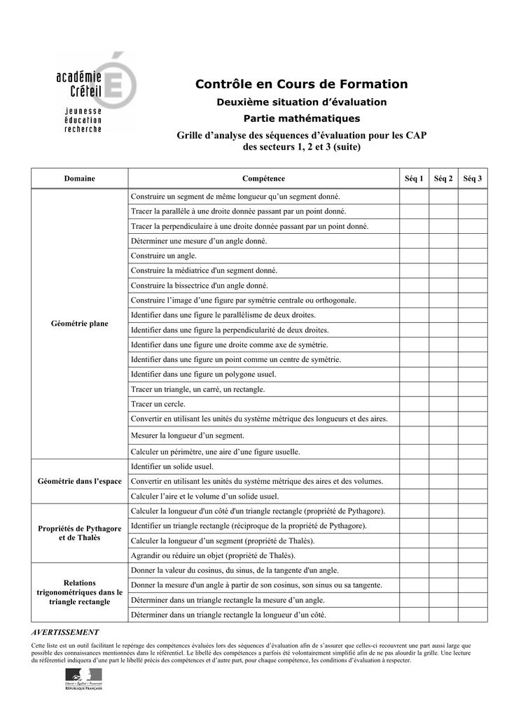 grille d`analyse des séquences d`évaluation pour les CAP