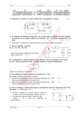 Exercices Circuits résistifs