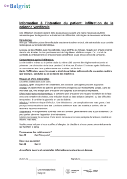 Information à l`intention du patient: infiltration de la colonne vertébrale