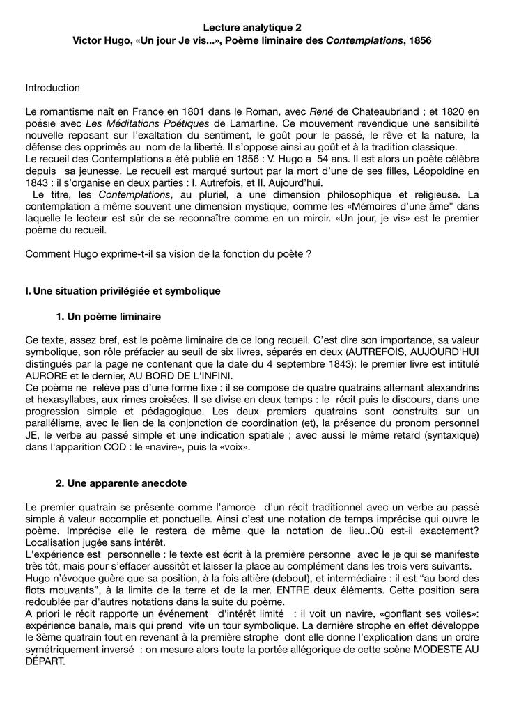 Commentaire De Texte Les Contemplations Victor Hugo ...