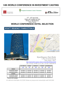WORLD CONFERENCE HOTEL SELECTION