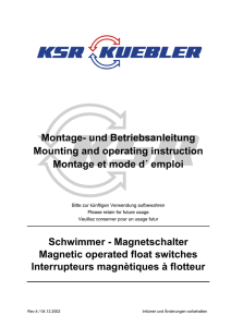 Montage- und Betriebsanleitung Mounting and operating instruction