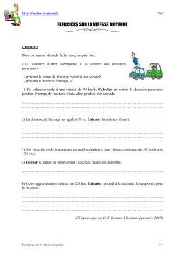 Exercices (2) sur la vitesse moyennedocument pdf - Maths