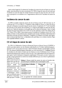 Incidence du cancer du sein CO et risque de cancer du sein