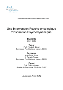 Une Intervention Psycho-oncologique d`Inspiration