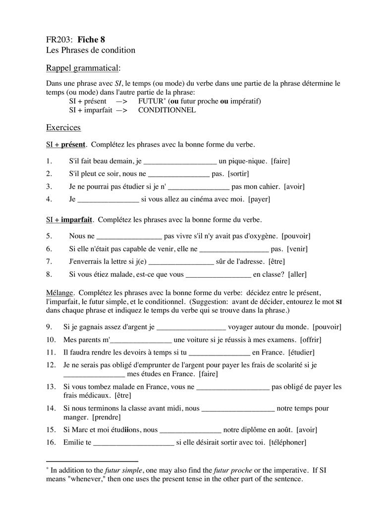 FR203: Fiche 8 Les Phrases de condition Rappel grammatical