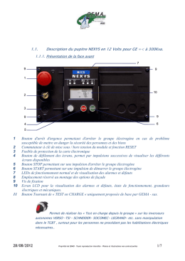 1.1. Description du pupitre NEXYS en 12 Volts pour GE