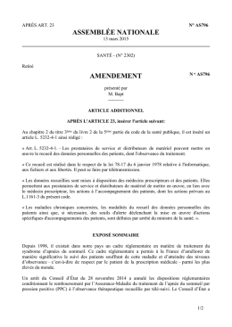ASSEMBLÉE NATIONALE AMENDEMENT