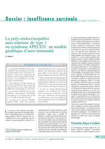 La poly-endocrinopathie auto-immune de type 1 ou syndrome