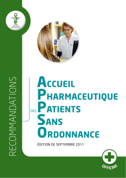 Accueil pharmaceutique des patients sans ordonnance