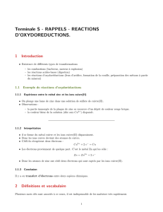 Terminale S - RAPPELS - REACTIONS D`OXYDOREDUCTIONS.