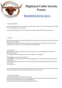 Highland Cattle Society France Standard de la race