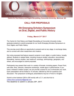Symposium_CFP-Appel EN-FR_2017 - Centre for Oral History and