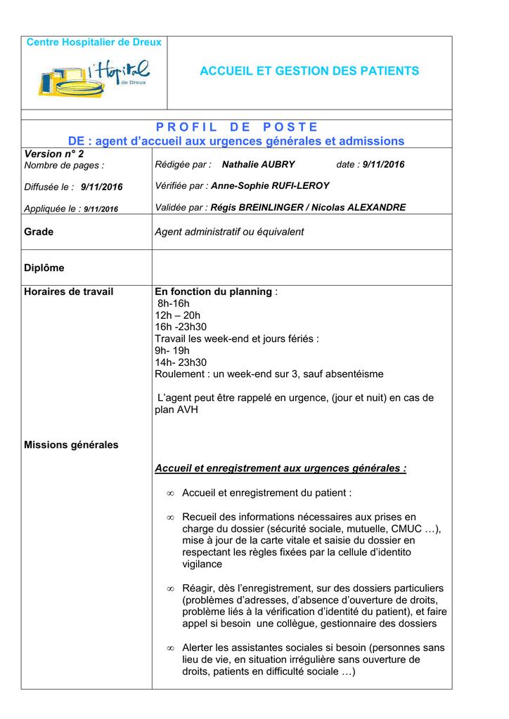 Accueil urgences générales et admissions fiche de poste