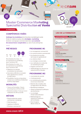 Master Commerce Marketing Spécialité Distribution et