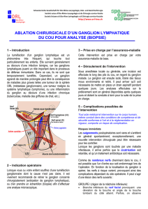 Ablation chirurgicale d`un ganglion lymphatique du cou - orl-hno