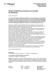 Ringier Publishing concentre ses activités de marketing