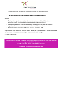 Technicien de laboratoire de production d`embryons H/F