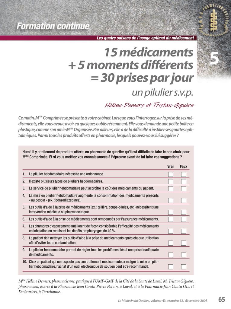 Photo Carte Assurance Maladie Jean Coutu.15 Medicaments 5 Moments Differents 30 Prises Par Jour
