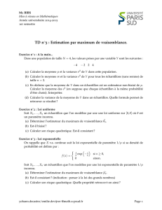 TD n 5 : Estimation par maximum de vraisemblance.