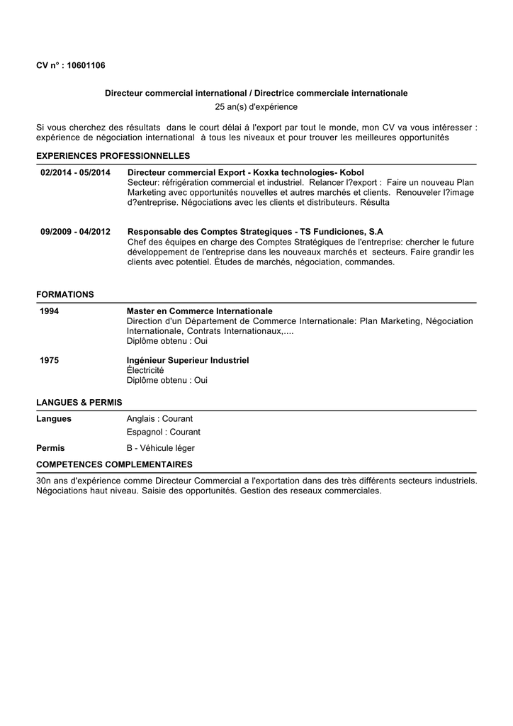 CV n° : 10601106 Directeur commercial international ...