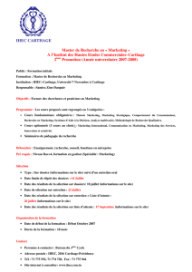 IHEC CARTHAGE Master de Recherche en « Marketing » A l`Institut
