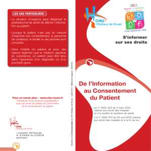 De l`Information au Consentement du Patient