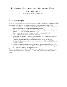 Parimaths - Mathematical Olympiads Club Arithmétique
