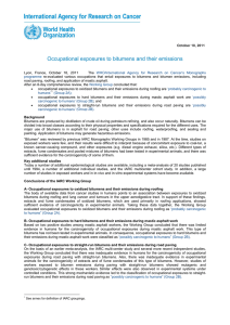 Occupational exposures to bitumens and their emissions