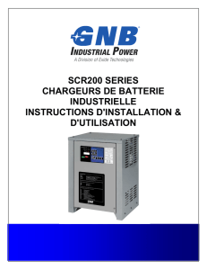 GNB® SCR200 Chargeurs de Batterie Industrielle Instructions d