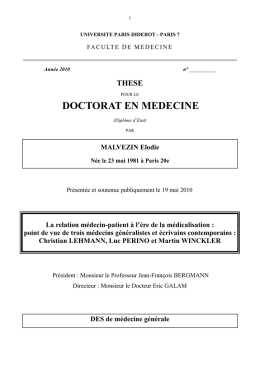 DOCTORAT EN MEDECINE - Accueil DMG PARIS