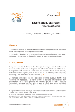 Exsufflation, drainage, thoracostomie